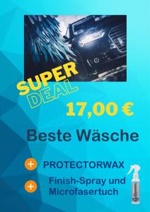 Super Deal: Die beste Wäsche plus Protectorwax plus Finnisch-Spray und Microfasertuch für nur 17 Euro.